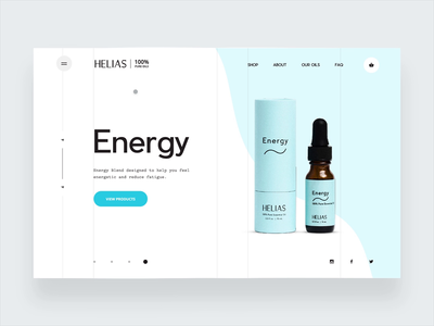 Helias Oils - hamburger navigation product mockup health clean hamburger navigation ux ui digital design website web ecommerce essential oil