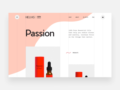 Helias Oils - image webGL distortion on scroll ux ui digital design website web animation webgl ecommence product health essential oils helias