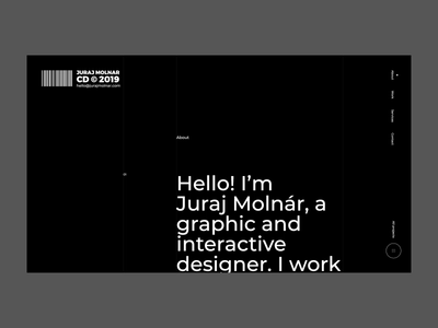 Juraj Molnár - intro animation scroll big creative director portfolio black typography clean animation ux ui web design website web