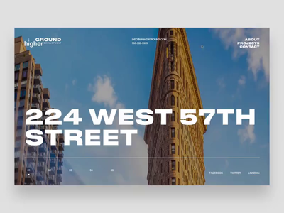 Higher Ground - real estate promo website webgl homepage brutalism typography bold minimal motion ux ui new york interactive animation prototype webdesign website realestate