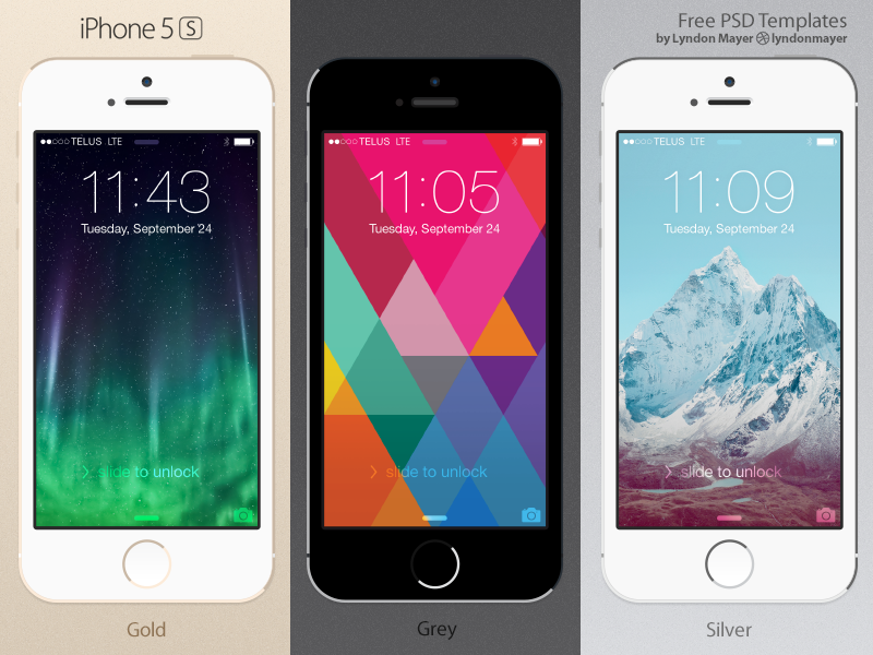 FREE Flat IPhone 5s Template Iphone Mockup Device Freebie Psd