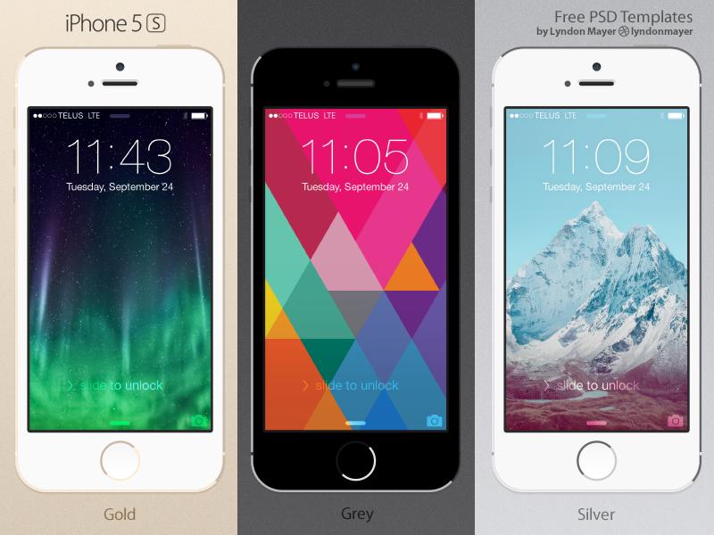 FREE Flat iPhone 5s Template iphone 5s flat template mockup device 5s freebie iphone psd