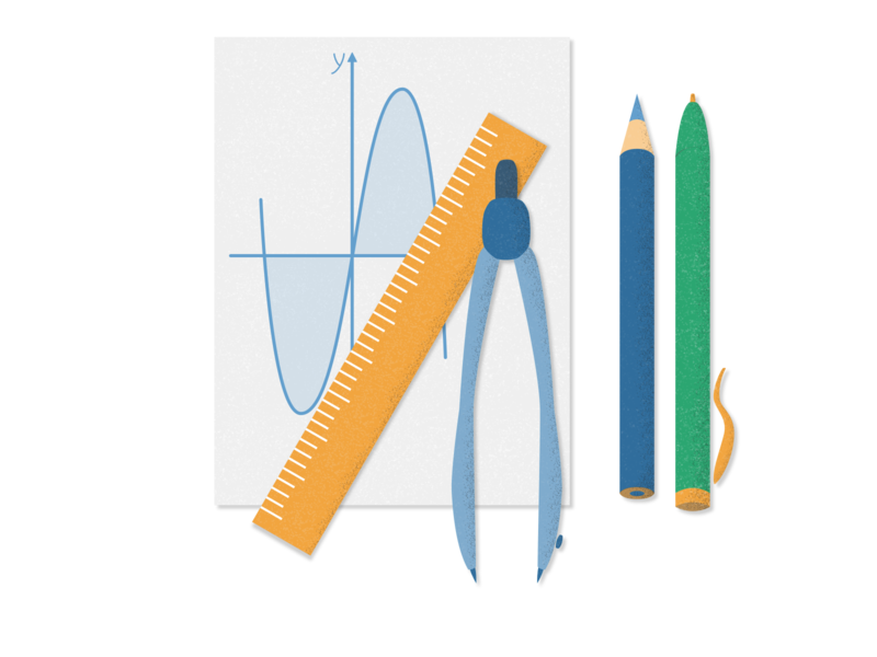 Maths stationery set Illustration stationery landing design study school mathematics math illustration adobe photoshop