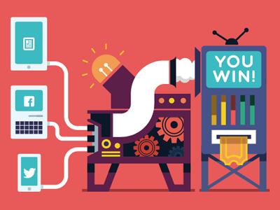 Contest machine contest machine ipad iphone computer illustration win cogs