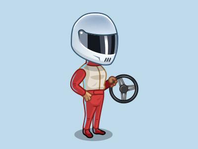 Social game avatar vector illustration driving wheel car racer driver character social game