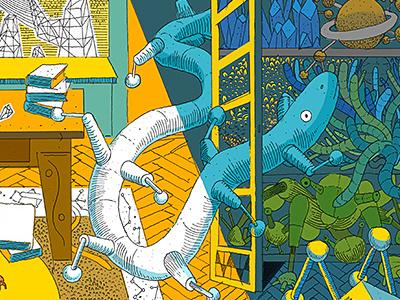 Tribute to Stanisław Lem & Daniel Mróz gotesque illustration mural mróz lem