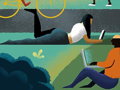 Marcin Czaja recreation work park laptop reading illustration