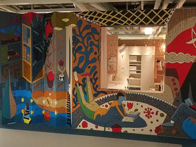 Ikea mural (part) illustration bookshelf wall reading book horse swedish room interior design painting mural ikea