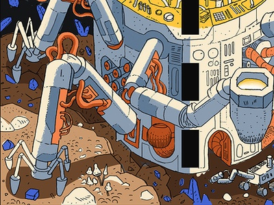 Agh Mural galaxy space laboratory science forge forging mining rover mars robot agh mural