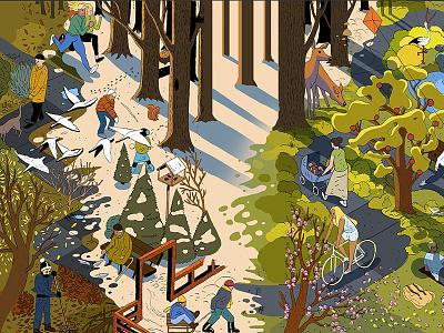Four seasons isometric animal environment nature trees comic walk park winter autumn summer spring