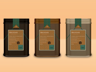 Mountain Organics Coffee Tins labeldesign label organic mountain container tin coffee shop coffee package design package packaging product product design digital art typography vector logo branding design graphic design