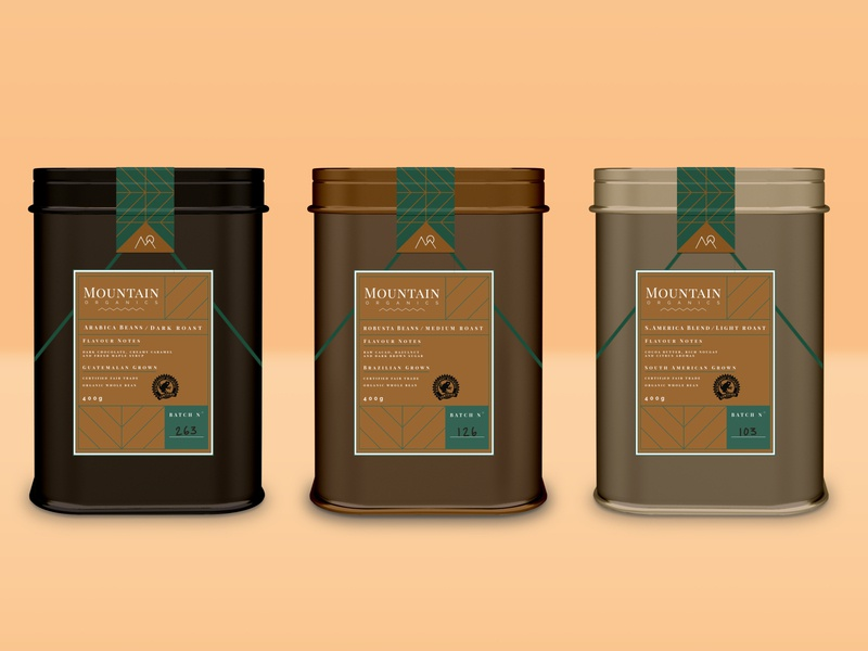 Mountain Organics Coffee Tins labeldesign label organic mountain container tin coffee shop coffee package design package packaging product product design digital art typography vector logo branding design graphic design