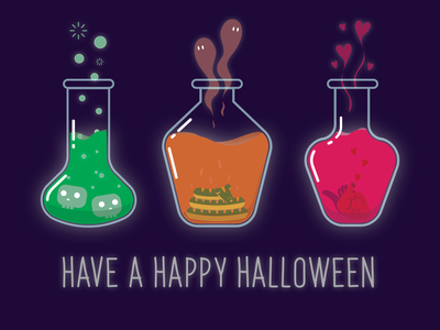Spooky Potions - Weekly warm up ghost death love spooky potion heart snake skull weekly warm-up halloween art digital art typography illustration vector design graphic design