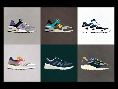 New Balance - a Year in Review vector sneakers shoe new balance art poster minimalist digital art illustration branding design graphic design