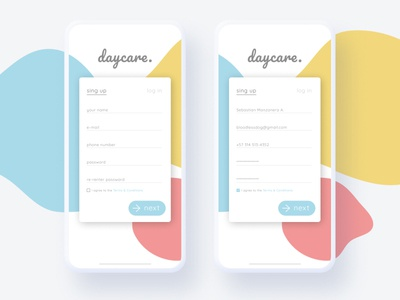 Daycare. - Mobile App UI daily 100 challenge daily ui dailyui mockup iphonex sign in ui login design sign up signup ui  ux ui design ui design app ux