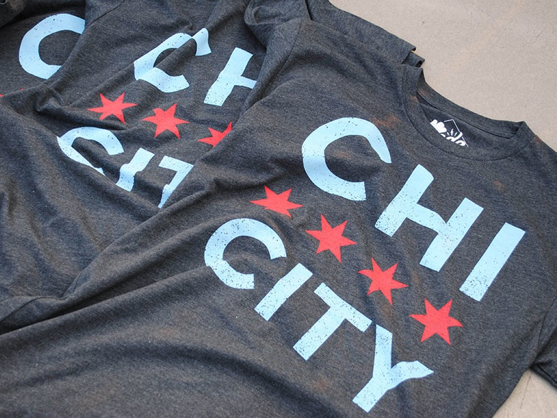 Chi City Tee chicago illinois chi city flag stars tshirt apparel chi city real thread chi town screen printing