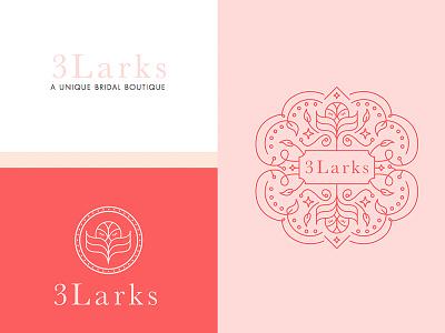 3larks Bridal Boutique Branding and Logo design feminine bird lark wedding design branding logo design bridal logo