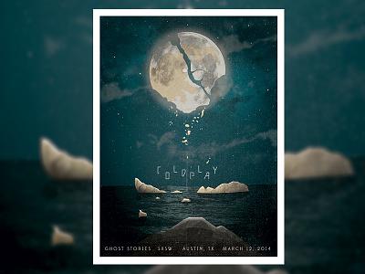 Moon Illustration Concert Poster sky stars night design poster texture illustration ocean water moon