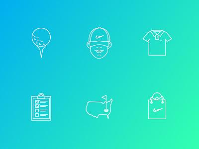 Nike Golf Icons pga golf ball line icons icon design icon golf nike