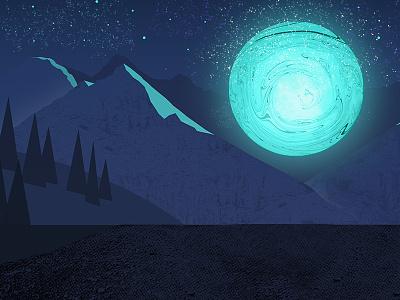 Cosmic Moon Illustration stardust hills mountains nighttime mystery texture illustration night galaxy stars cosmic moon