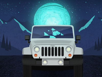 Jeep in the Moonlight wrangler vector galaxy sky stars nighttime mountains car illustration moon jeep