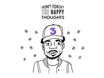 Chance the Rapper Illustration hip hop music 3 happy pen drawing illustration chance the rapper