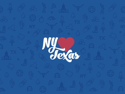 New York Hearts Texas Illustration and Branding logo design branding houston new york city iconography icons illustration hurricane harvey texas new york