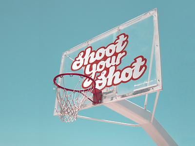 Shoot Your Shot Basketball Type & Lettering photography branding athlete shoot your shot basketball court sports branding hoops lettering type design basketball