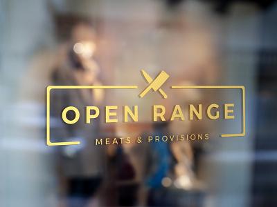 Open Range Logo Design illustration typography storefront retail meats butcher branding and identity signage logo branding