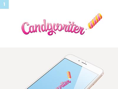 Candywriter mobile app startup logo design color schemes typography logo design branding and identity branding