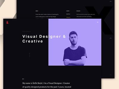 Personal space personal website editorial minimal flat dark black logo showcasing work identity branding portfolio