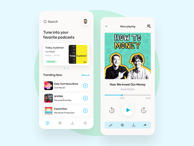 Podcast App Concept music player music podcast application app design clean ui ux modern interface concept popular shot clean ui