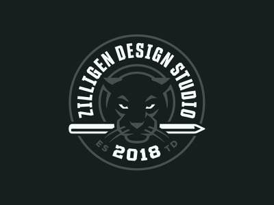 ZDS Panther pencil apple pencil panther badge illustration typography sports branding logo sports