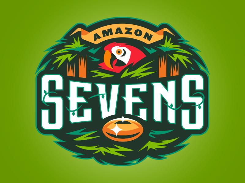 Amazon Sevens macaw jungle type illustration logo sports rugby sevens amazon