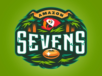 Amazon Sevens macaw jungle type illustration logo sports rugby sevens amazon