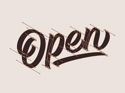 Open typography type beziercurves bezier handles script lettering