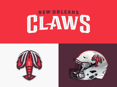 New Orleans Claws typeface sports branding design sports football fleurdelis crawdelis crawfish claws louisiana neworleans theuflproject