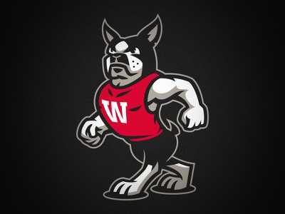 Wareing's Gym logo sports dog gym boston terrier mascot