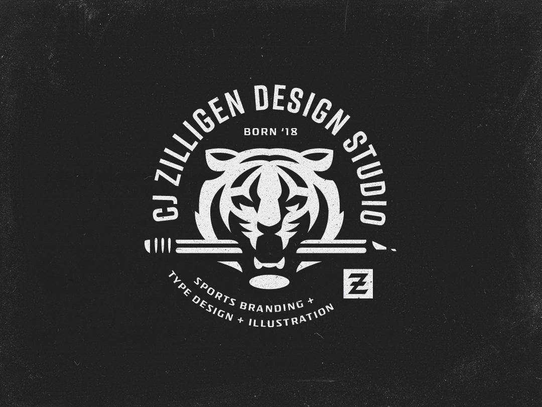 CZDS Tiger Badge tiger sports illustration vector sports branding design typography