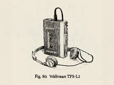 """""""Relics"""" - Walkman sony tape cassette pen and ink illustration india ink crosshatch engraving stippling old school old fashion"""
