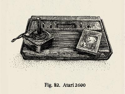 """Relics"" - Atari  pen and ink illustration india ink crosshatch engraving stippling old school old fashion pacman atari"