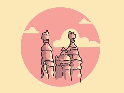 Bryce Canyon illustration badge design vector