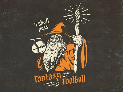 Fantasy Football - Wizard football fantasy design type lettering illustration