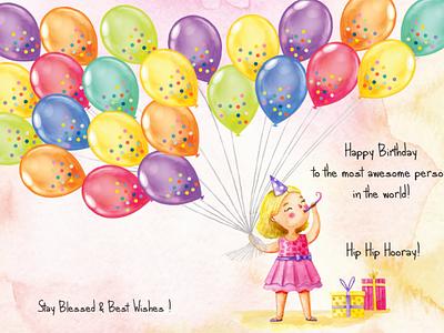 Greeting Card for bestie's birthday decor art corel draw adobe photoshop adobe illustrator greeting uiux vector art design graphic design
