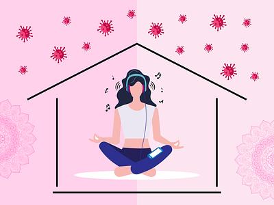 Meditation during pandemic meditation pandemic coronavirus art vector art design illustration art