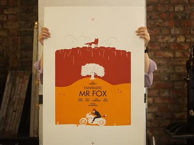 Fantatsic Mr Fox Movie Poster flat illustration typography printmaking screen printing movie posters design