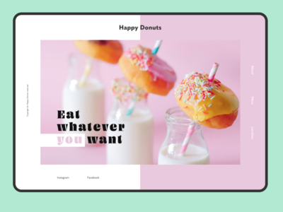 Happy Donuts sugar pink cute happy sweet donuts donut branding advertising typography web design site