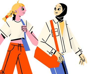 Girls birthday healthcare mural graphic design illustration relationship health feminism fashion chill blonde laptop girl power friendship friends hijab muslim chat walk girls
