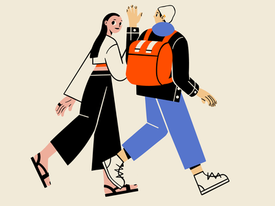 The walk mural asian long hair fall autumn hat birthday backpack hang out mindfulness illustration chill chat hello walking date friendship girl boy black hair