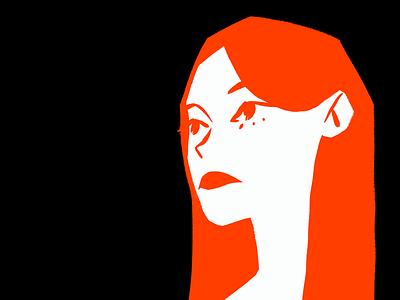 Portrait personal project woman walk look back sad avatar red lips long hair flat illustration white digital design eyes red black autumn girl procreate portrait